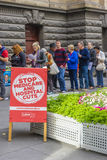 Electoral placard and electors at Melbourne Town Hall Stock Image