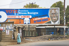 Electoral posters on an abandoned colonial boutique in Eastern Uganda Stock Photos