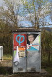 Electoral posters for the French presidential election of 23 April 2017. Electoral posters for the French presidential election of 23 April 2017 in Limoux Stock Photography
