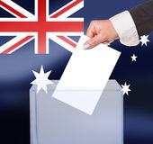 Electoral vote by ballot. Under the Australia flag Stock Photo