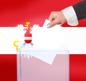 Electoral vote by ballot. Under the Austria flag Stock Images
