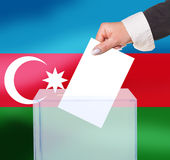 Electoral vote by ballot. Under the Azerbaijan flag Royalty Free Stock Images