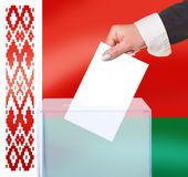Electoral vote by ballot. Under the Belarus flag Royalty Free Stock Image