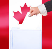 Electoral vote by ballot. Under the Canada flag Royalty Free Stock Image