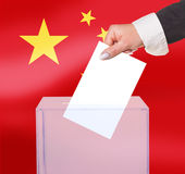 Electoral vote by ballot. Under the China flag Stock Photo