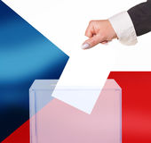 Electoral vote by ballot. Under the Czech Republic flag Stock Image