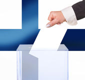 Electoral vote by ballot. Under the Finland flag Royalty Free Stock Image