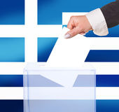 Electoral vote by ballot. Under the Greece flag Royalty Free Stock Image