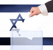 Electoral vote by ballot. Under the Israel flag Stock Photography