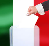 Electoral vote by ballot. Under the Italy flag Stock Photography