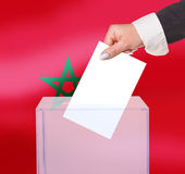 Electoral vote by ballot. Under the Morocco flag Stock Photos