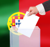 Electoral vote by ballot. Under the Portugal flag Royalty Free Stock Photos