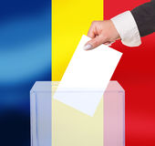 Electoral vote by ballot. Under the Romania flag Stock Image