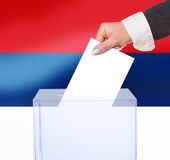 Electoral vote by ballot. Under the Serbia flag Royalty Free Stock Image