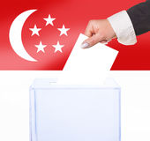 Electoral vote by ballot. Under the Singapore flag Stock Images