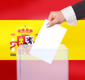 Electoral vote by ballot. Under the Spain flag Royalty Free Stock Photography