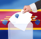Electoral vote by ballot. Under the Swaziland flag Stock Image
