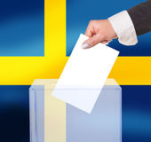 Electoral vote by ballot. Under the Sweden flag Royalty Free Stock Image