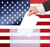 Electoral vote by ballot. Under the USA flag Stock Photography