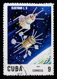 Electrón 1 y 2, 10mo Ana Del lanzamiento del primer serie del satélite artificial, circa 1967 Imágenes de archivo libres de regalías