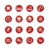 Electrónica casera i de la etiqueta engomada roja Fotografía de archivo libre de regalías