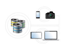 Electrónica conectada con un dispositivo de almacenamiento Fotografía de archivo libre de regalías