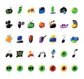 Electrónica, dispositivos e iconos coloridos de la música Imagenes de archivo