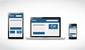 Electrónica responsiva del web Diseño web Foto de archivo