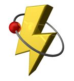 Electric. Red ball fly around yellow flash - 3d illustration Stock Photo