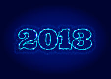 Electric 2013 sign. Electric 2013 year sign with blue lightnings Vector Illustration