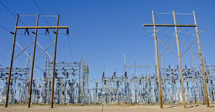 Electric. Substation, with many ceramic insulators, generating electricity stock image