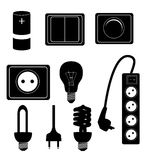 Electric accessories silhouette icons vector Royalty Free Stock Photography