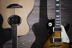 Electric and acoustic guitar Stock Photos