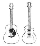 Electric and Acoustic Guitars Royalty Free Stock Images