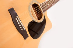 Electric acoustic yellow guitar close up on white Stock Photography