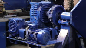Electric actuator works. gearbox works. electro motor drives gearbox. FullHD stock video