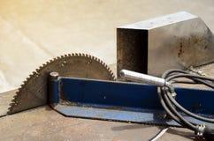 Electric Aluminium cutting table. Stock Image