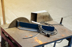 Electric Aluminium cutting table. Stock Photo