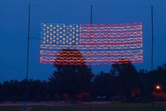 Electric American Flag at Night in Plains Georgia, home of 39th President of the US, President Carter Stock Image