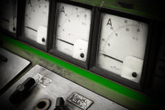 Electric amperage control. A electric amperage control panel, low light Royalty Free Stock Photography