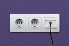 Electric And Internet Outlets On Wall Stock Images