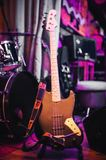 Electric bass guitar at concert Royalty Free Stock Photo