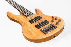 Electric bass guitar isolated on white Royalty Free Stock Images