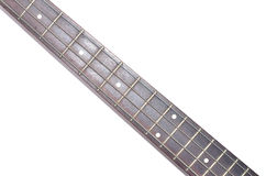 Electric Bass guitar neck isolated on white background Royalty Free Stock Images