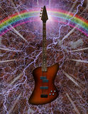 Electric Bass Guitar. With rainbow Vector Illustration