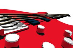 Electric bass perspective. 3d render illustration vector illustration