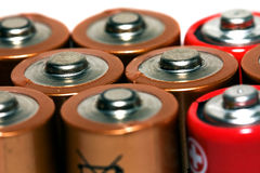 (electric) battery. Various electrical battery, photographed together Stock Image