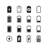 Electric battery, accumulator energy vector icons set Royalty Free Stock Image