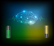 Electric battery energy  charge brain, dark blue light abstract. Technology background Stock Photography