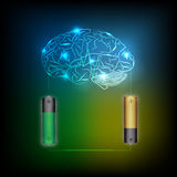 Electric battery energy  charge brain, dark blue light abstract. Technology background Royalty Free Stock Images